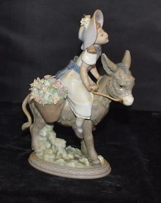 """Lladro Figurine """"LOOK AT ME"""" #5465 -Girl on Donkey- Ret 2004- MInt in Box"""