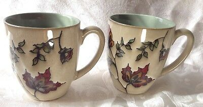 Autumn Mugs Set of 2 Textured Red Fall Leaves Flowers 12 oz Green by Spectrum