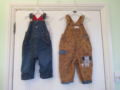 9-12m: 2 cute dungarees: Blue denim/Brown stars: Soft linings: NEXT