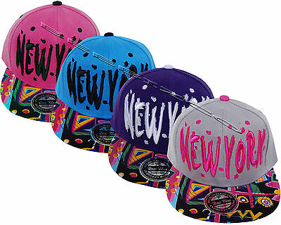 New York Ny Multicolour Flat Peak Unisex Mens Womens Snapback Baseball Cap Hat