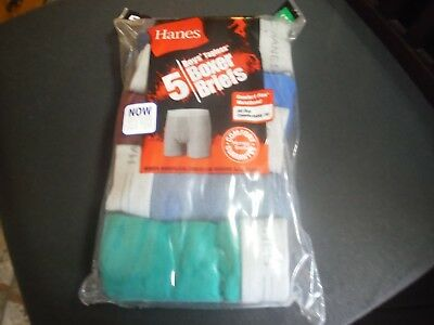 Hanes Boy's 5 Pack Soft Tagless Boxer Briefs Variety w/DkRed Size L (14- 16) New