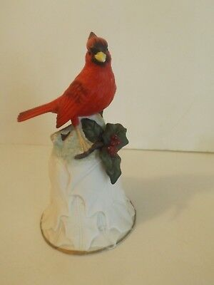 Avon Collectibles Cardinal Bird Bell 2000 White Christmas Holly Leaves Berries