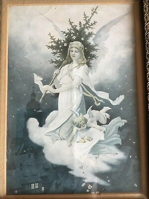 Vintage Guardian Angel Print Approximately 7 X 10