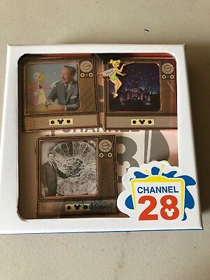 Wonderful World Disney Channel 28 3 Pin Set Walt Disney Pin LE 500 Retro TV
