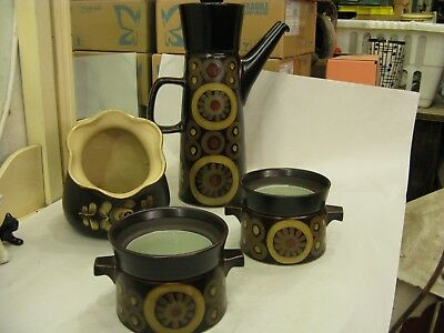 Set of Vintage DENBY Pottery Arabesque Coffee Pot, + 2 Pots & Biscuit Jar #PO101