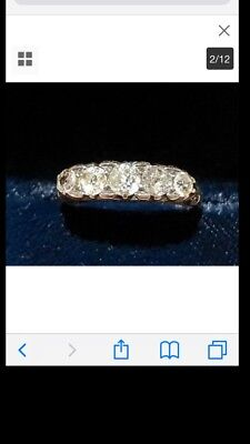 Victorian 18ct Gold  Old European Cut Diamond 5 Stone Filigree Ring Size I