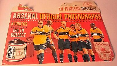 A Collection Of 8 Arsenal Official Photographs 1997/98 Season+Original Envelope