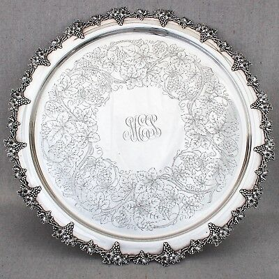 "19.5"" Shreve & Co. Sterling Silver Charger Serving Tray Grapevine Winery 2114g"