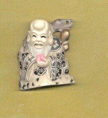 Fortune God With Peach Colored Netsuke Signed Japanese   320