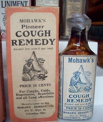 Labeled Indian Remedy Bottle, Mohawk's Pioneer Cough Remedy