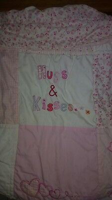 Hugs & Kisses quilt and bumper Cot Bed set Baby Toddler Junior Nursery used