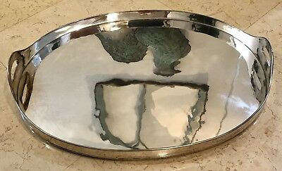 XL Source Perrier Collection Silver plated Oval Gallery Serving Tray w Handles