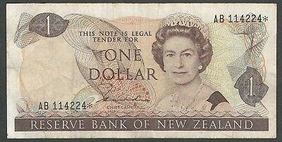 1980's New Zealand 1 Dollar Circulated Banknote; serial AB114224* (Replacement)