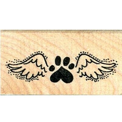 Paw Print Angel Wing Rubber Stamp - (RH) FREE SHIPPING