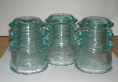 3 Each - Vintage WHITALL TATUM No. 3 Glass Insulators - Lt. Green