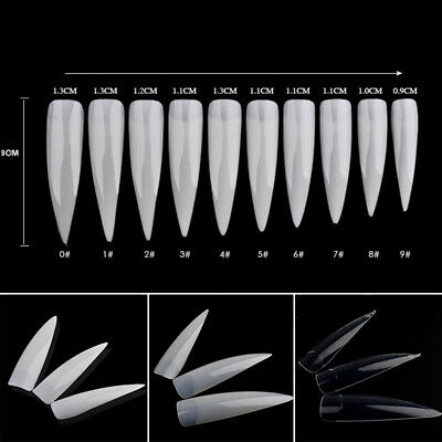 500 PCS FAKE False French Nail Art Tips White Clear Stiletto Pointy