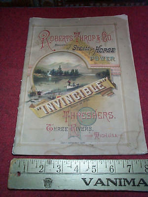 1883 Robert Throp Co Steam & Horse Power Threahers Three Rivers Michigan Catalog
