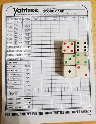 YAHTZEE Score Pad 68 Sheets Replacement For Classic Dice Game & 6 Wooden Dice