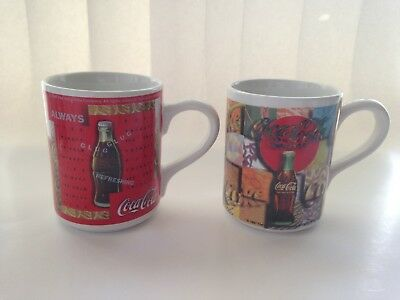 2 Two Vintage Cups 1997 Gibson Coca Cola Collectible Coffee Tea Latte Mug