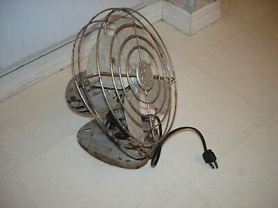 "Vintage Manning Bowman Metal Fan 8"" Desk or Wall Mount #085002 1 Speed OLD FIND"
