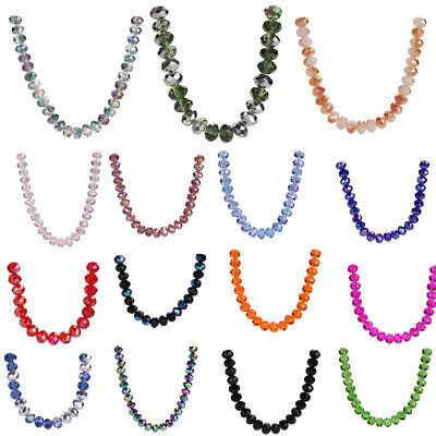 100pcs 6mm Rondelle Faceted Crystal Glass Loose Spacer Beads Jewelry Makings