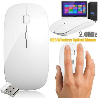 USB Optical Wireless 2.4 GHz Ultra Slim Mouse Cordless Scroll PC Laptop Computer