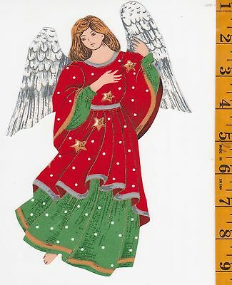 Christmas Angel~Red~~ Iron-On Fabric Applque~No Sewing ~