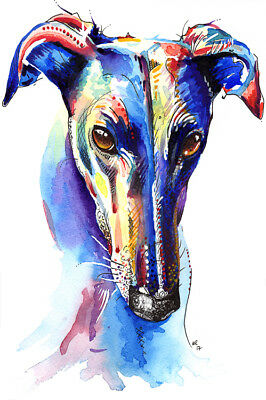 Greyhound Art Print Painting Poster Wall Art Picture, Birthday Gift Gifts Xmas