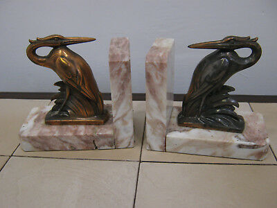 French Art Deco spelter Heron figurine on marble base, pair bookends, garnitures