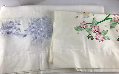 Lot Of Two Vintage Sets Embroidery Stamped Pillow Cases