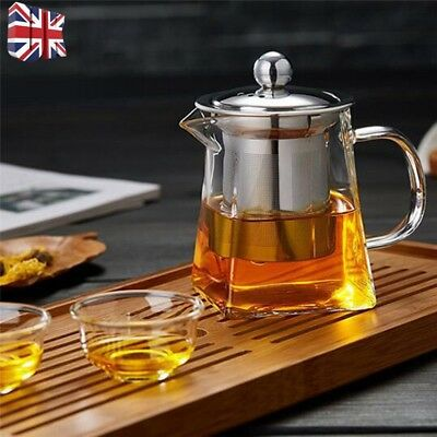 UK Heat Resistant Clear Glass Teapot Jug With Infuser Coffee Tea Leaf Herbal