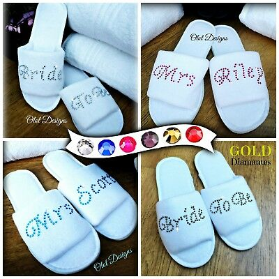 Wedding Slippers White Personalised Diamante Rhinestones Bridesmaid Bridal Spa