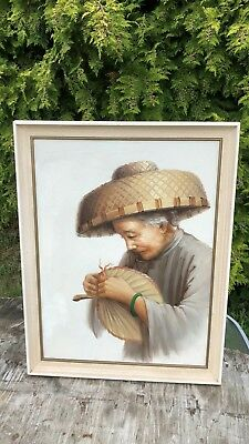 Beautiful Vintage Framed Oil Painting of Chinese Old Lady *