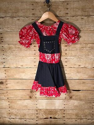 Leos Dancewear Girls Size SC Cowgirl Country Pageant Small Red Bandana