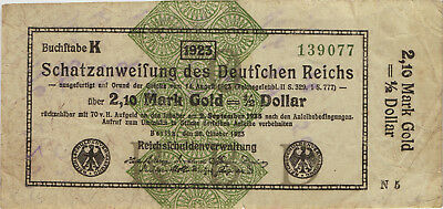 Ro.144a 2,10 Mark Gold = 1/2 Dollar 1923 (3-)