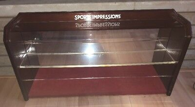 Vintage wood Display Case mirror Curio Store Counter Cabinet SPORT IMPRESSIONS
