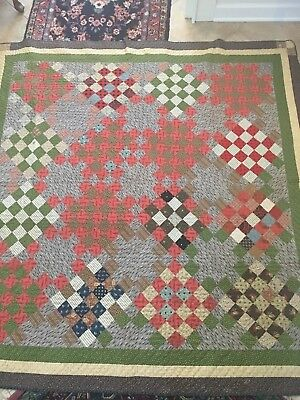 """antique finished quilt, multi colors, 75"""" x 76"""", exceptional, hand stitched"""