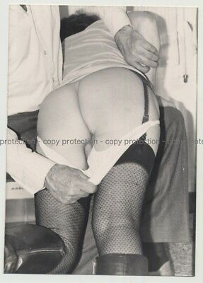 Semi-Nude Woman About To Get Spanked / Naked Butt (Vintage Photo B/W ~1950s)