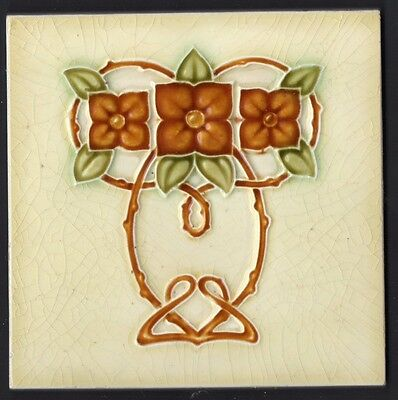 Exquisite reclaimed antique tile Art Nouveau Majolica Cream Olive caramel rose