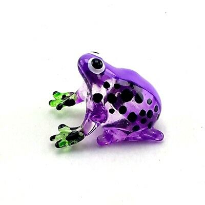 Hand Blown Glass Frog Figurine Animal Miniature Gift Handmade Decor Collectible