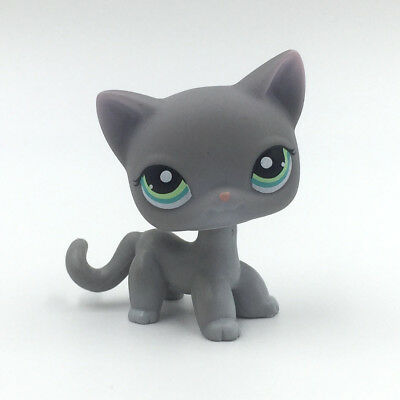 Littlest Pet Shop Toy LPS cat #126 gray kitty with blue Eyes rare short hair cat