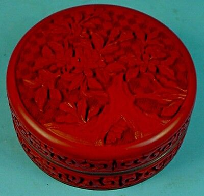 """Vintage Chinese Carved Cinnabar Lacquer & Enamel 'Blossoming Prunus Tree""""  Box"""