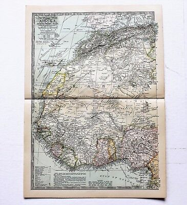 1906 Africa Western Part Map Sierra Leone Freetown Railroad Routes ORIGINAL