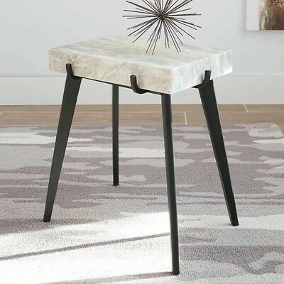 Elegant Modern Contemporary Accent Table Home Decor Living Room Marble Top