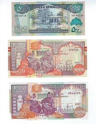 Somalia  Different Government Issues See Scans  3 Pcs In Lot  Unc