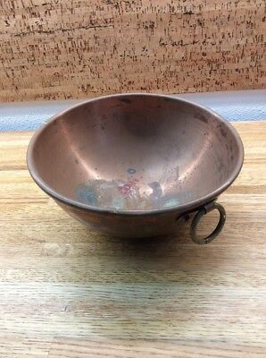 Vintage French COPPER MIXING BOWL Candy Chocolate Heavy Round Bottom Brass Ring