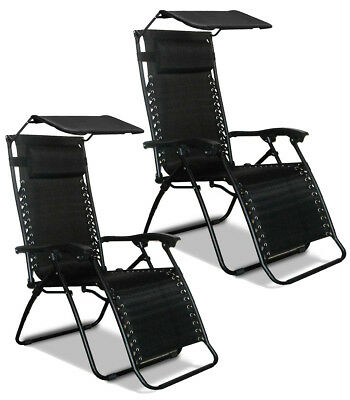 2x Textoline Zero Gravity Reclining Lounger Chair with Canopy Sun Shade & Pillow