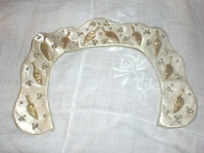 Antique Victorian Edwardian Silk Gold Embroidered Collar Ivory Gold White India