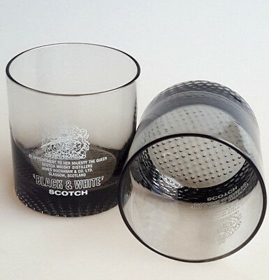 Buchanan Black and White Scotch smoked glass double old fashioned glasses VTG