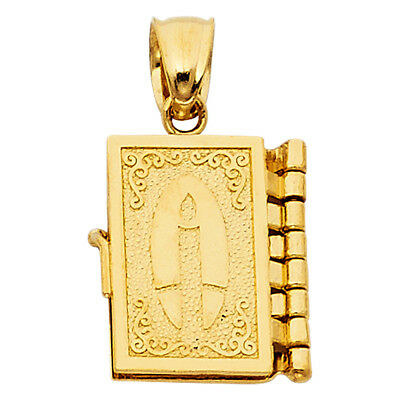 Real 14K Yelow Gold Holy Bible Candle Open Locket Small Medallion Pendant Charm